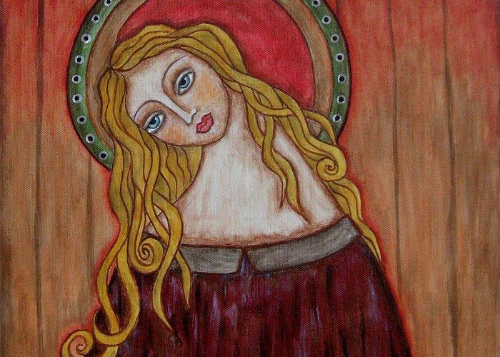 Folk Art Paintings Paintings Greeting Card featuring the painting Serena by Rain Ririn