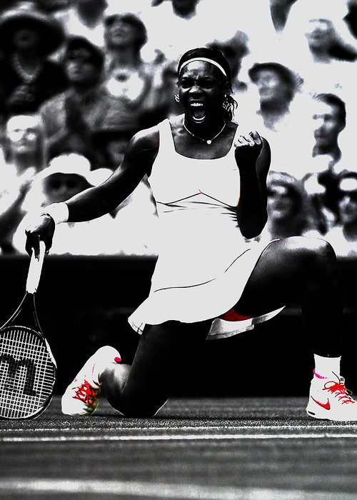 Serena Williams Greeting Card featuring the mixed media Serena Williams Victory by Brian Reaves