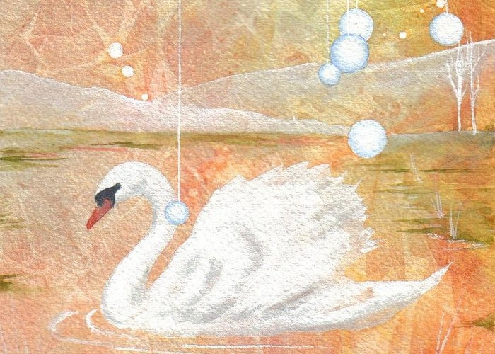 Swan Greeting Card featuring the painting Serena's Sanctuary by Jackie Mueller-Jones