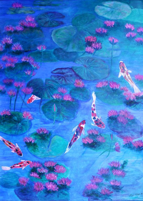Lily Pads Greeting Card featuring the painting Serene Pond by Ben Kiger