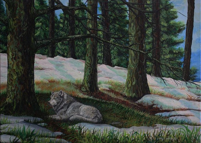 Wildlife Greeting Card featuring the painting Serenity by Ashley Scibilia