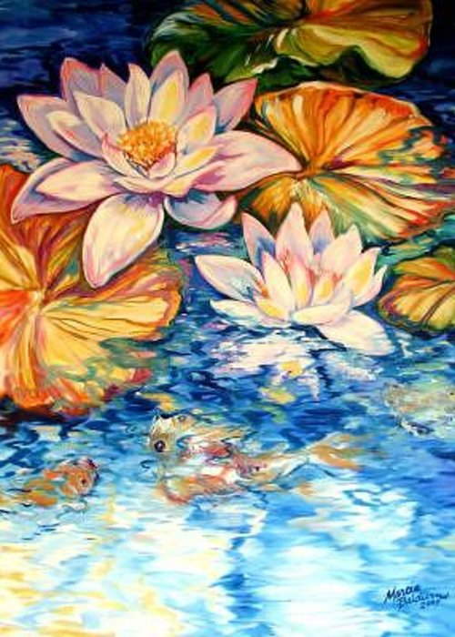 Koi Greeting Card featuring the painting SERENITY By M BALDWIN A WATER LILY KOI POND ORIGINAL by Marcia Baldwin