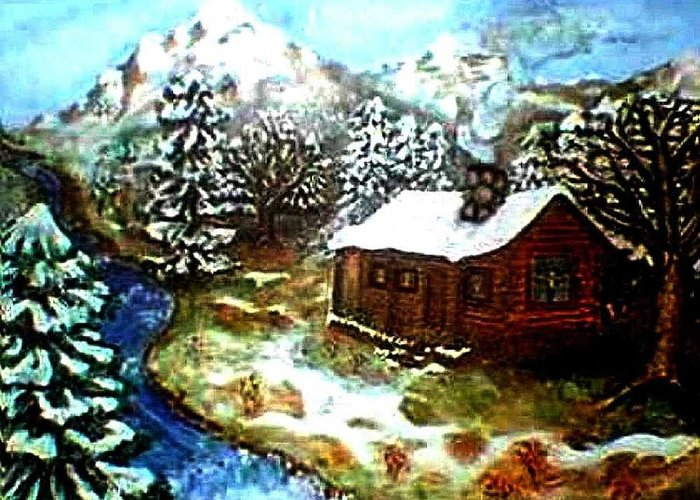 Landscape Greeting Card featuring the painting Serenity Cabin by Tanna Lee M Wells