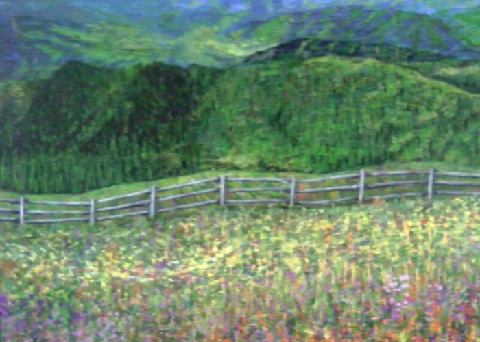 Landscape Calm Country Mountains Greeting Card featuring the painting Serenity Now by Sally Van Driest
