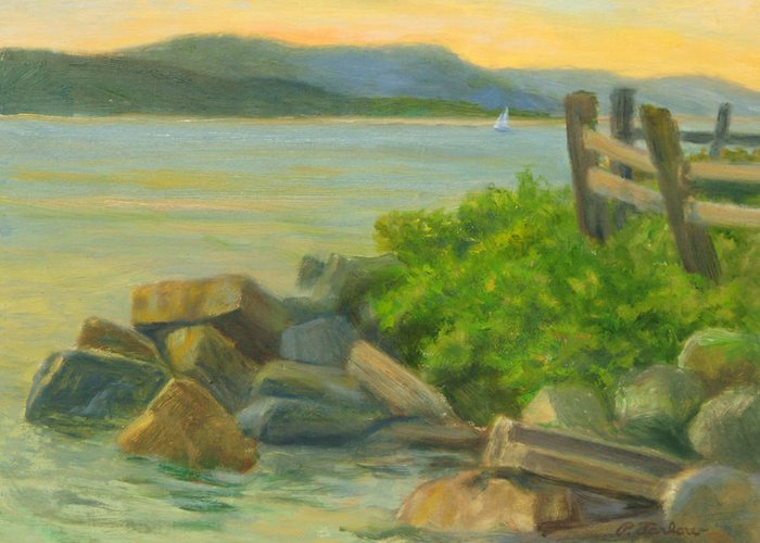 Landscape Greeting Card featuring the painting Serenity On The Hudson by Phyllis Tarlow