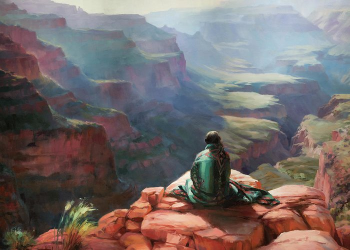 Southwest Greeting Card featuring the painting Serenity by Steve Henderson