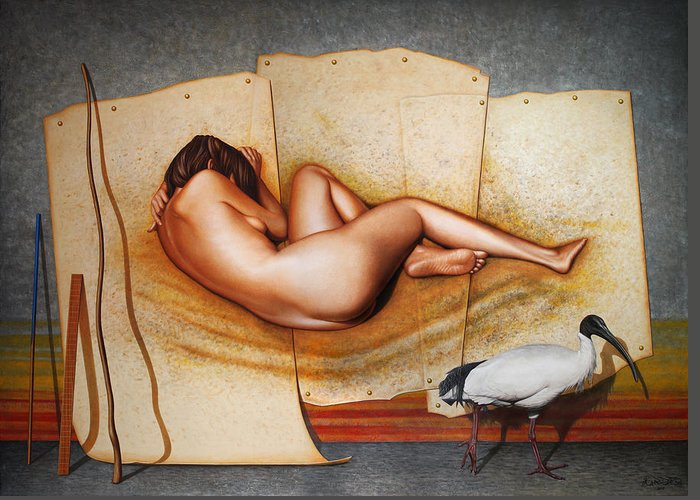 Nude Greeting Card featuring the painting Serenity Uncovered by Horacio Cardozo