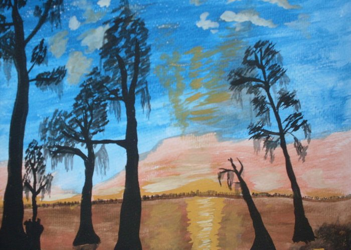Acrylic Sunset Lake Trees Greeting Card featuring the painting Serenity by Warren Thompson