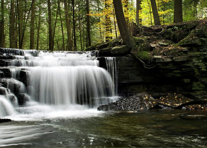 Serenity Greeting Card featuring the photograph Serenity Waterfalls Landscape by Christina Rollo