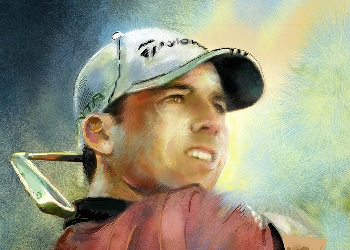 Golf Painting Golfart Castello Masters Spian Sport Greeting Card featuring the painting Sergio Garcia In The Castello Masters by Miki De Goodaboom