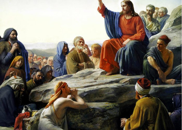 Sermon On The Mount Greeting Card featuring the painting Sermon On The Mount by Carl Bloch