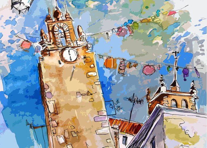 Painting Of Serpa Alentajo Portugal Travel Sketch Greeting Card featuring the painting Serpa Portugal 08 Bis by Miki De Goodaboom