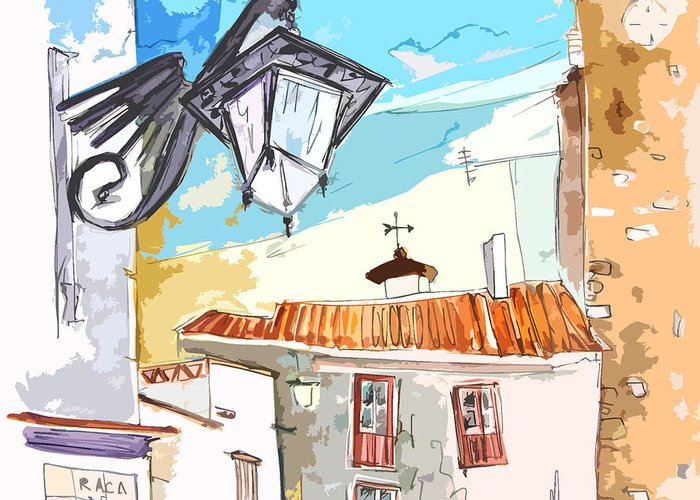 Painting Of Serpa Alentajo Portugal Travel Sketch Greeting Card featuring the painting Serpa Portugal 09 Bis by Miki De Goodaboom