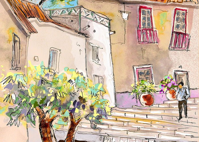Portugal Paintings Greeting Card featuring the painting Serpa Portugal 36 by Miki De Goodaboom