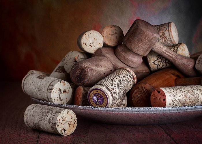 Aged Greeting Card featuring the photograph Served - Wine Taps And Corks by Tom Mc Nemar