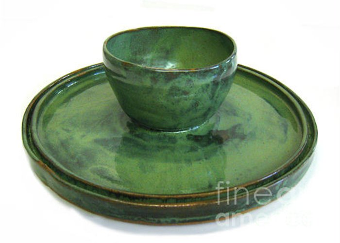 Pottery Greeting Card featuring the ceramic art Serving Dish Or Chip And Dip Server by Vernon Nix