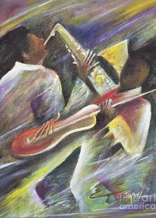 African-american; African Greeting Card featuring the painting Session by Ikahl Beckford