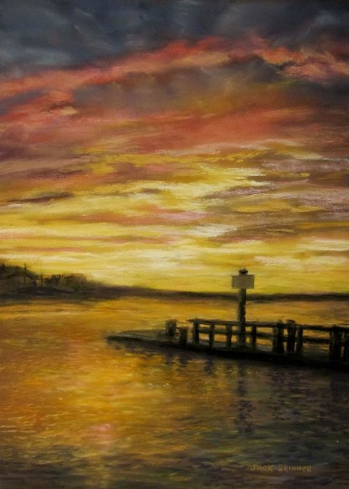 Sunset Greeting Card featuring the painting Sesuit Harbor At Sunset by Jack Skinner