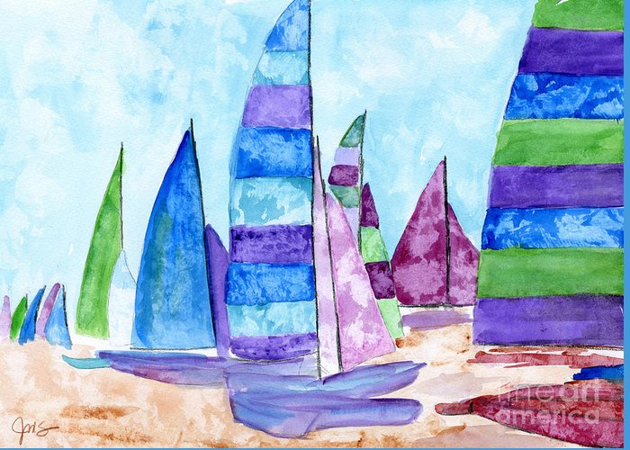 Boat Greeting Card featuring the painting Set Sail by Julia Stubbe