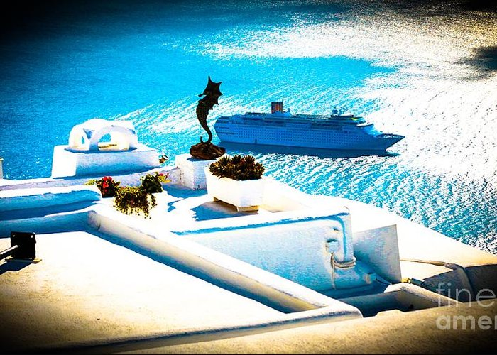 Boat Greeting Card featuring the photograph Set Sail Santorini by K P Larrabee