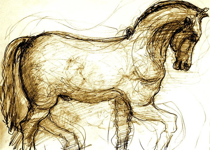 Horse Greeting Card featuring the drawing Set The Stallion Free by Dan Earle