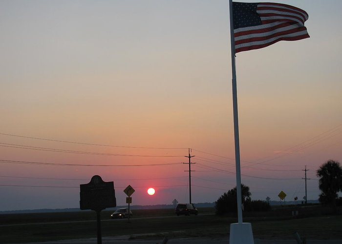Greeting Card featuring the photograph Setting Of Old Glory by Tyrone Spann