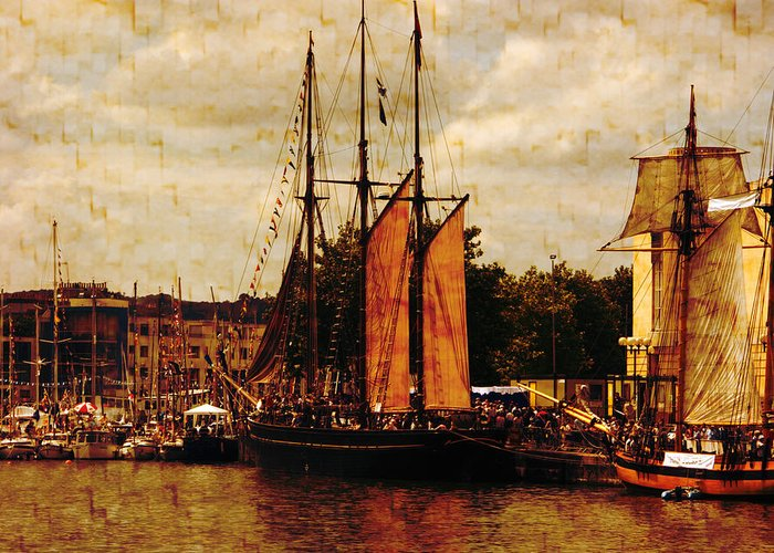 Tall Ships Greeting Card featuring the photograph Setting Sail From Bristol by Brian Roscorla