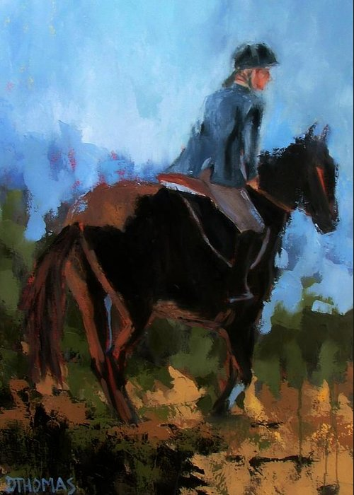 Horse Greeting Card featuring the painting Setting Up The Jump by Donna Thomas