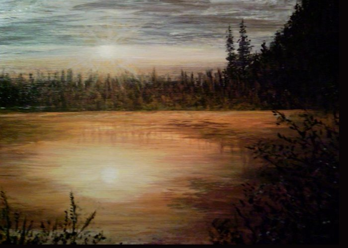 Landscape Seascape Water Trees Calm Sunset Settle Greeting Card featuring the painting Settling Down by Sally Van Driest