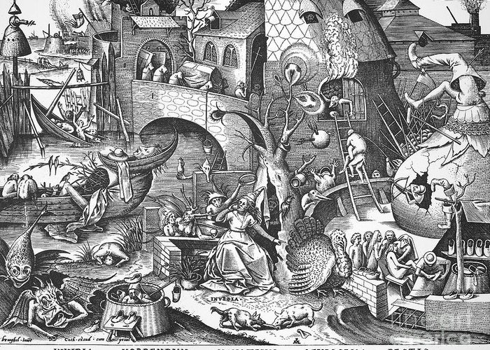 1558 Greeting Card featuring the photograph Seven Deadly Sins, 1558 by Granger