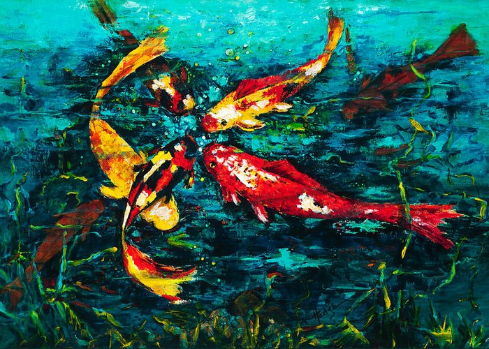 Koy Greeting Card featuring the painting Seven Koi by Mary DuCharme