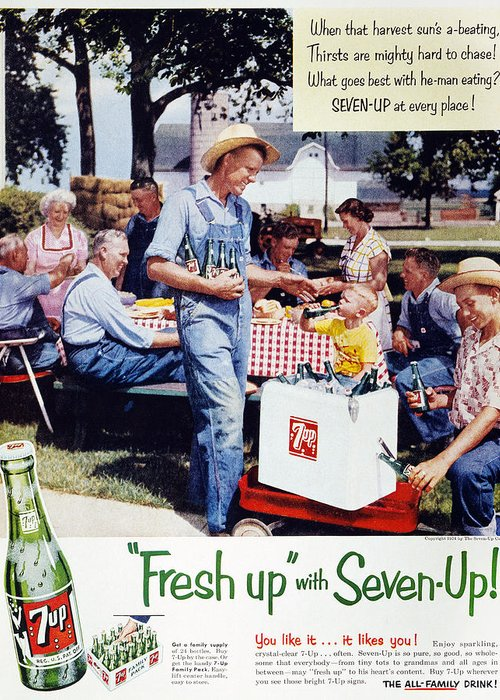 -domestic- Greeting Card featuring the photograph Seven-up Soda Ad, 1954 by Granger