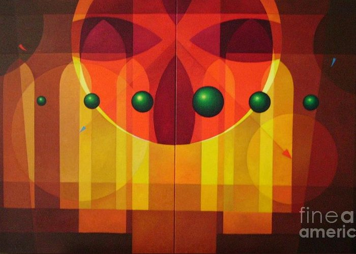 Geometric Abstract Greeting Card featuring the painting Seven Windows - 2 by Alberto DAssumpcao