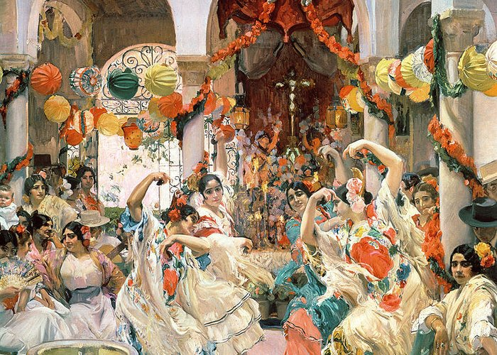 Seville Greeting Card featuring the painting Seville by Joaquin Sorolla y Bastida