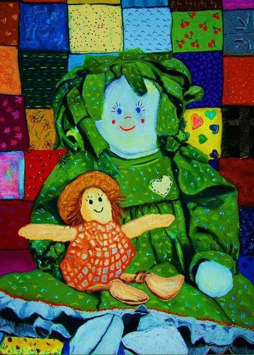 Dolls Greeting Card featuring the print Sew Sweet by Melinda Etzold