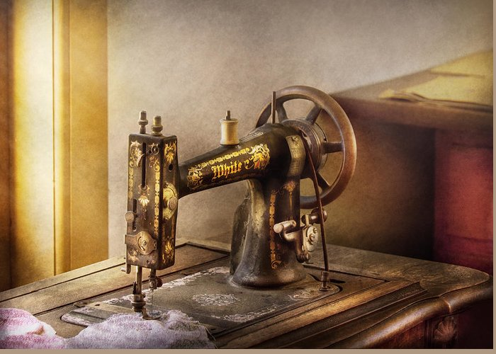 Hdr Greeting Card featuring the photograph Sewing - A Black And White Sewing Machine by Mike Savad