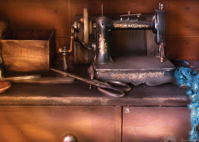 Savad Greeting Card featuring the photograph Sewing - New National Sewing Machine by Mike Savad