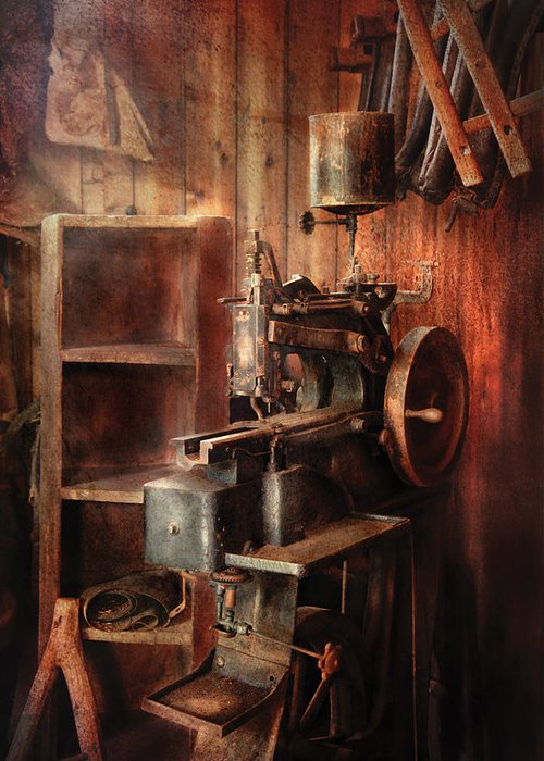 Savad Greeting Card featuring the photograph Sewing - Sewing Machine For Saddle Making by Mike Savad