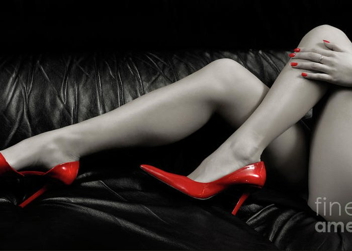 Legs Greeting Card featuring the photograph Sexy Woman Legs In Red High Heels by Oleksiy Maksymenko