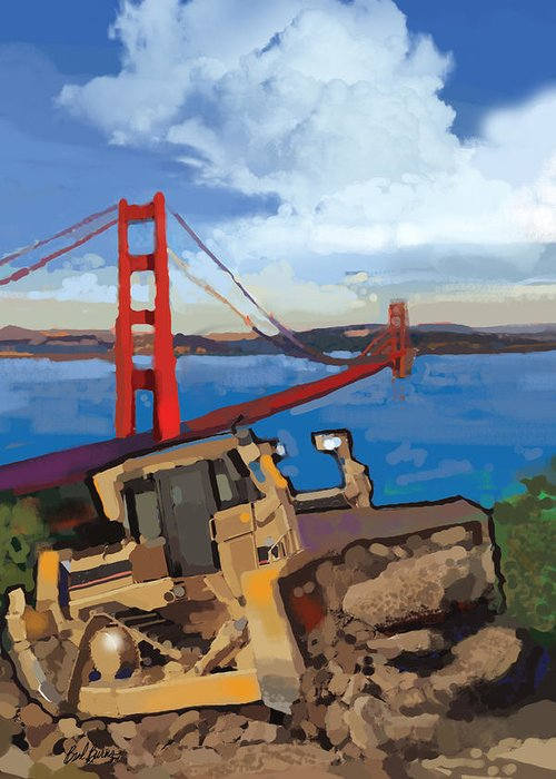 Bulldozers Greeting Card featuring the painting Sf And D9 by Brad Burns