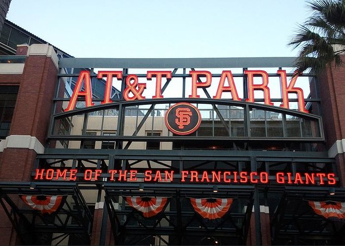San Francisco Greeting Card featuring the photograph Sf Giants Stadium by Kathleen Fitzpatrick