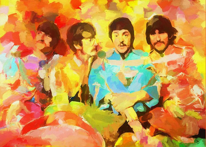 Sgt. Peppers Lonely Hearts Greeting Card featuring the painting Sgt. Peppers Lonely Hearts by Dan Sproul