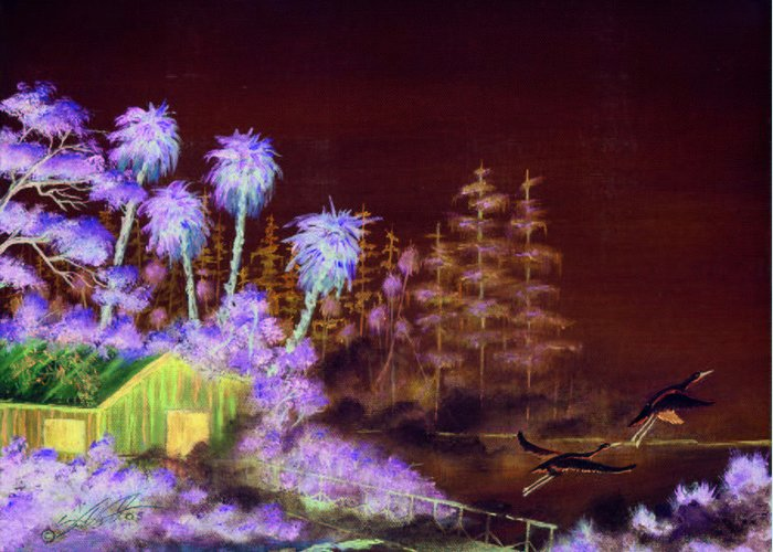 Landscape Greeting Card featuring the painting Shack In A Swamp by Dennis Vebert