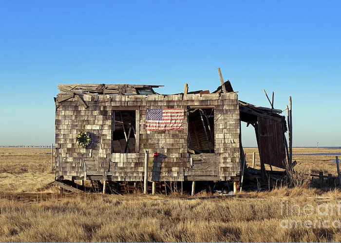 Abandoned Greeting Card featuring the photograph Shack With American Flag by John Greim