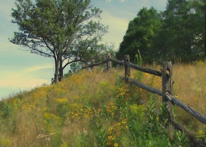 Country Rural Fence Vermont Flower Summer Painting Rail Tree Hill Goldenrod Shade Wild Sargent Oil Greeting Card featuring the painting Shade Tree by Eddie Durrett