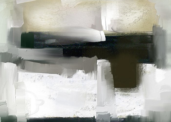Abstract Greeting Card featuring the mixed media Shades Of Grey 2 by Davina Nicholas