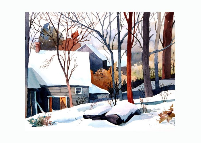 Winter Landscape Greeting Card featuring the painting Shades Of Winter by Art Scholz