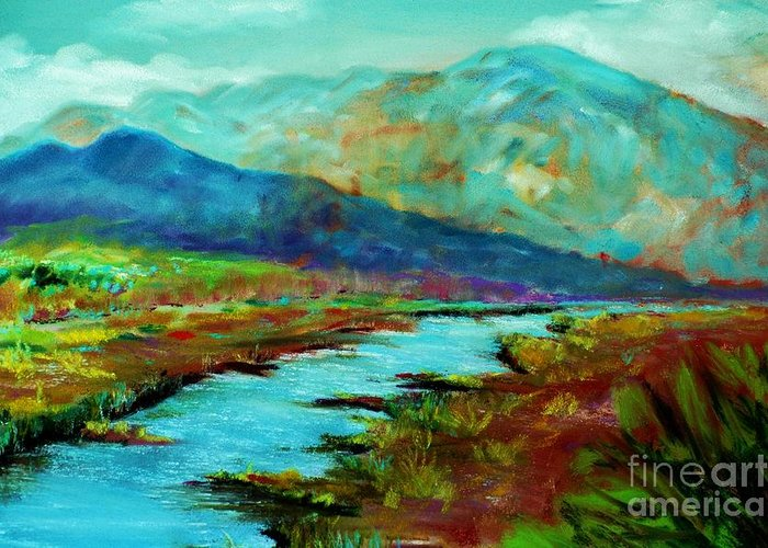 Mountains Greeting Card featuring the pastel Shadow Brook by Melinda Etzold