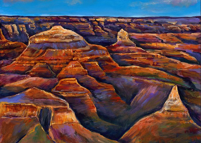 Landscapes Greeting Card featuring the painting Shadow Canyon by Johnathan Harris