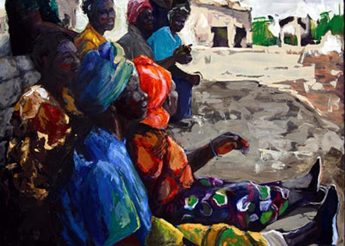 African Village Greeting Card featuring the painting Shadow Chat by Michelle Winnie